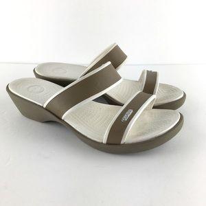 Crocs Tan/White Wedge Sandals Size 8